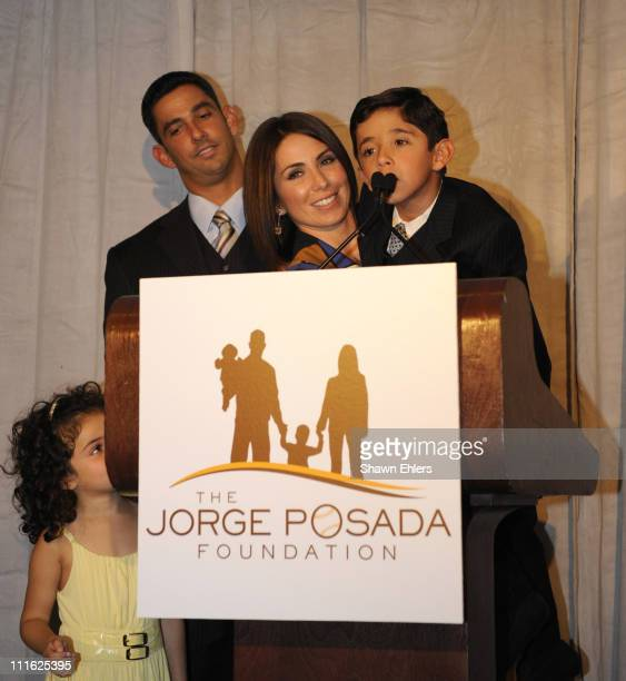 Paulina Posada Jorge Posada Laura Posada and Jorge Posada Jr attend a press conference for the Jorge Posada Foundation's 7th Heroes of Hope Gala at...