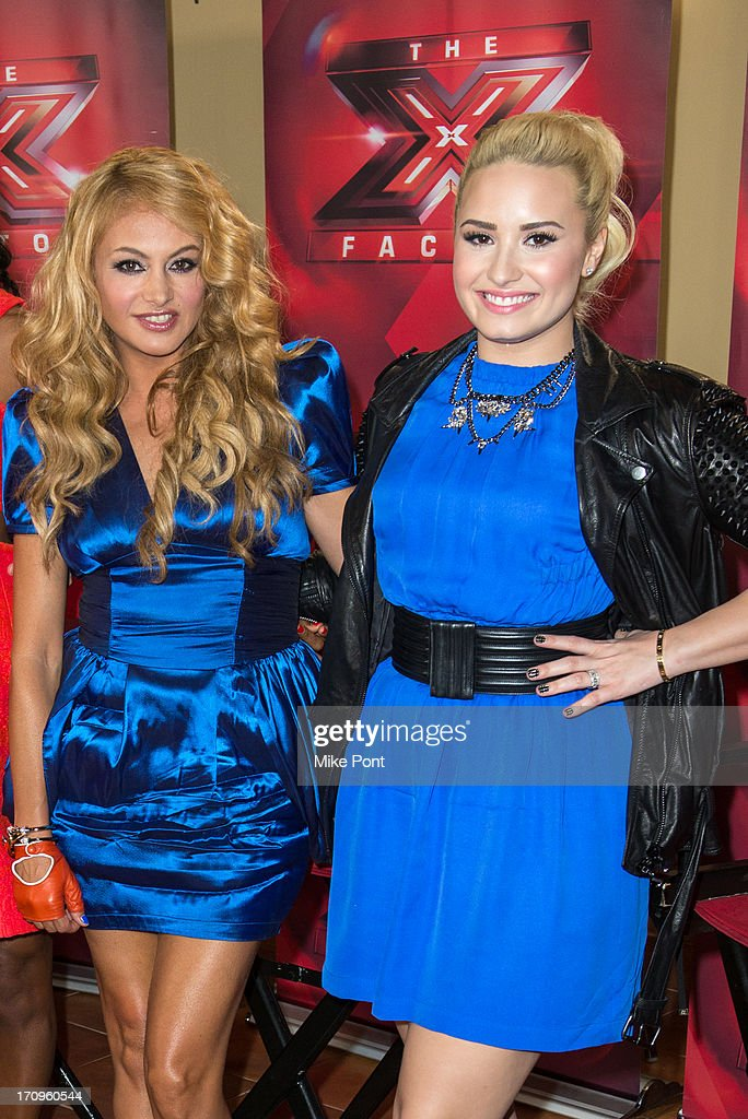 Paulina Rubio and Demi Lovato attend 'The X Factor' Judges press conference at Nassau Veterans Memorial Coliseum on June 20, 2013 in Uniondale, New York.
