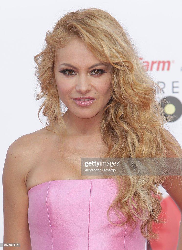 Paulina Rubio arrives at Billboard Latin Music Awards 2013 at Bank United Center on April 25, 2013 in Miami, Florida.