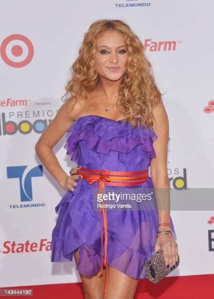 Paulina Rubio arrives at the Billboard Latin Music Awards 2012 at Bank United Center on April 26 2012 in Miami Florida