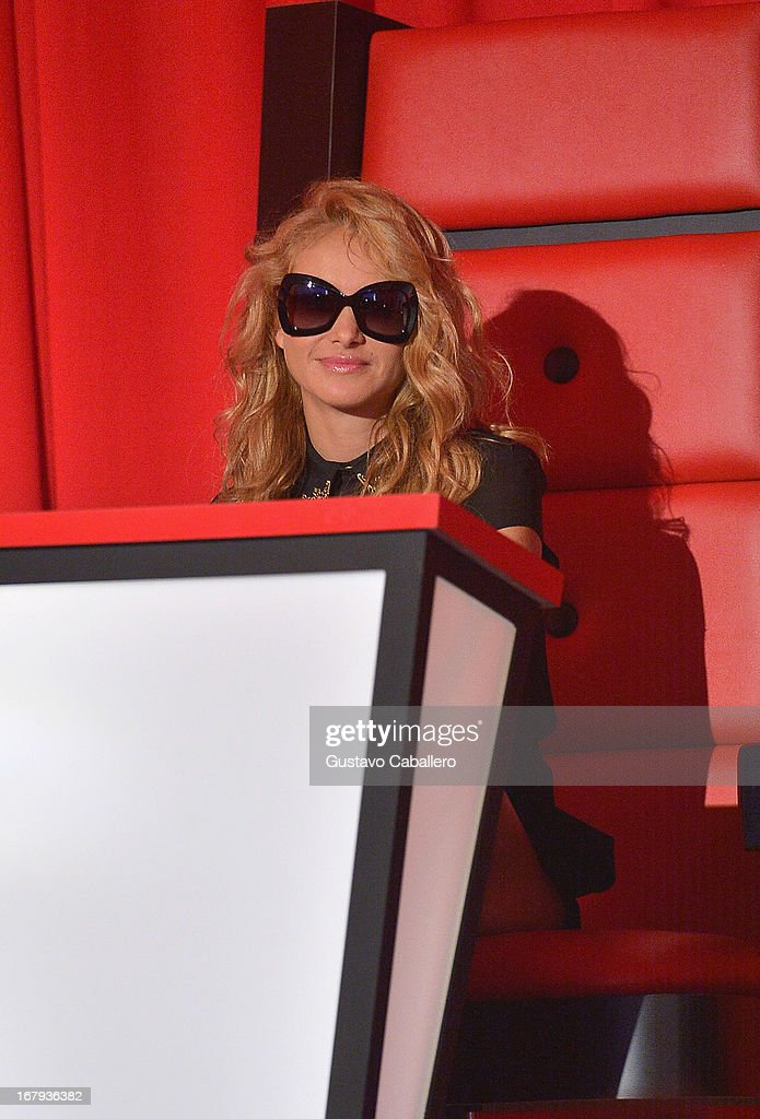<a gi-track='captionPersonalityLinkClicked' href=/galleries/search?phrase=Paulina+Rubio&family=editorial&specificpeople=201804 ng-click='$event.stopPropagation()'>Paulina Rubio</a> attends a press conference for Telemundo's 'La Voz Kids' on May 2, 2013 in Miami, Florida.