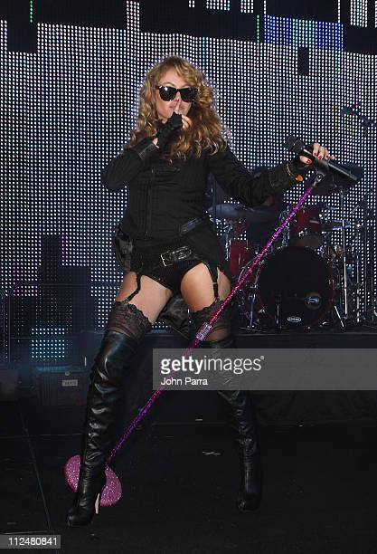 Paulina Rubio performs at Sammy Sosa's birthday party at Fontainebleau Miami Beach on November 14 2009 in Miami Beach Florida