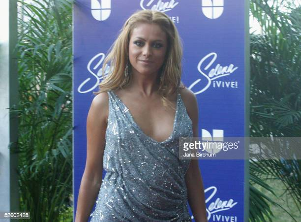 Paulina Rubio poses on the red carpet at the 'Selena Vive' tribute concert April 7 Reliant Stadium Houston Texas Many of the stars of Latin music and...