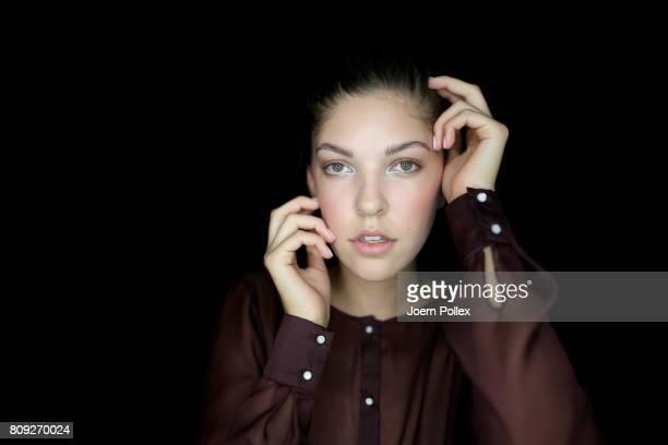 Paulina Swarovski poses backstage ahead of the Maisonnoee show during the MercedesBenz Fashion Week Berlin Spring/Summer 2018 at Kaufhaus Jandorf on...