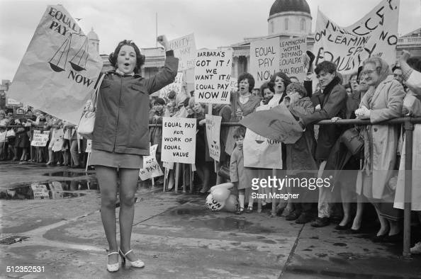 Pauline Bercker has travelled from Leeds to join an equal pay for women demonstration in Trafalgar Square London 18th May 1969