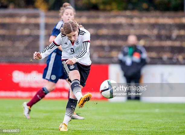 Pauline Berning of Germany scores the second goal for her team with during the international friendly match between U15 Girl's Germany and U15 Girl's...