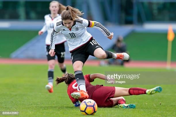 Pauline Berning of Germany U16 Girls challenges Beatriz Cameirão of Portugal U16 Girls during the match between U16 Girls Portugal v U16 Girls...
