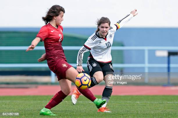 Pauline Berning of Germany U16 Girls challenges Francisca Silva of Portugal U16 Girls during the match between U16 Girls Portugal v U16 Girls Germany...