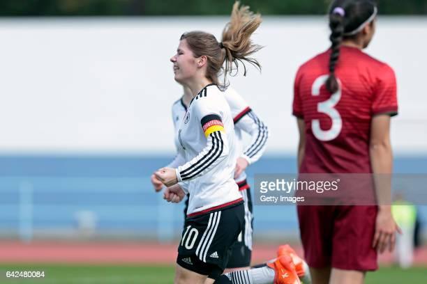Pauline Berning of Germany U16 Girls scored a goal during the match between U16 Girls Portugal v U16 Girls Germany on the UEFA International...