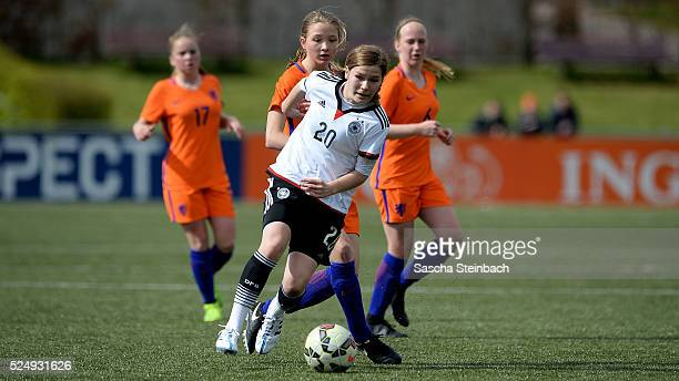 Pauline Berning of Germany vies for the ball during the U17 Girl's international friendly match between Netherlands and Germany on April 27 2016 in...
