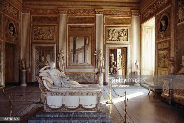 'Pauline Bonaparte as Venus Victrix' a sculpture by the Italian sculptor Antonio Canova on display at the Villa Borghese in Rome Italy 1970