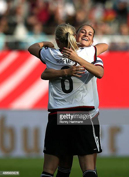 Pauline Bremer of Germany celebrates after scoring her team's tenth goal with Sara Daebritz of Germany during the UEFA Women's Euro 2017 Qualifier...