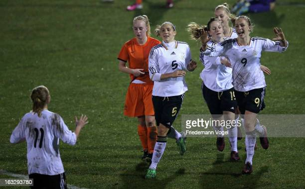 Pauline Bremer of Germany celebrates scoring the fifth goal with her team during the U17 Girls Tournament match between Germany and Netherlands on...