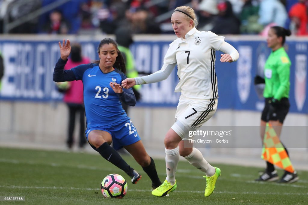 Pauline Bremer #7 of Germany challenged by Sakina Karchaoui #23 of France in action during the France Vs Germany SheBelieves Cup International match at Red Bull Arena on March 4, 2017 in Harrison, New Jersey.