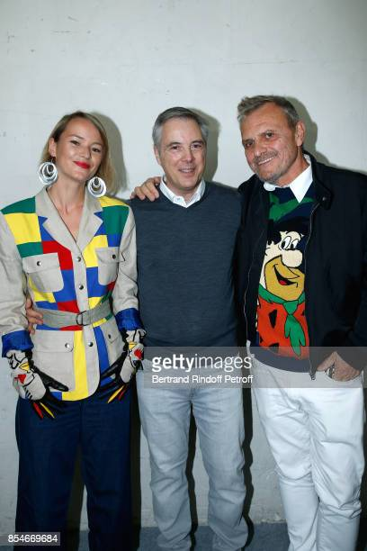 Pauline de Drouas Stylist Olivier Lapidus and JeanCharles de Castelbajac pose Backstage after the Lanvin show as part of the Paris Fashion Week...
