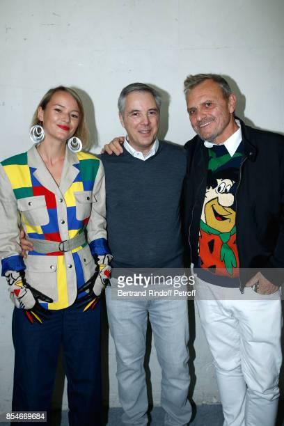 Pauline de Drouas Stylist Olivier Lapidus and JeanCharles de Castelbajac pose Backstage after the Lanvin show as part of the Paris Fashion Week...