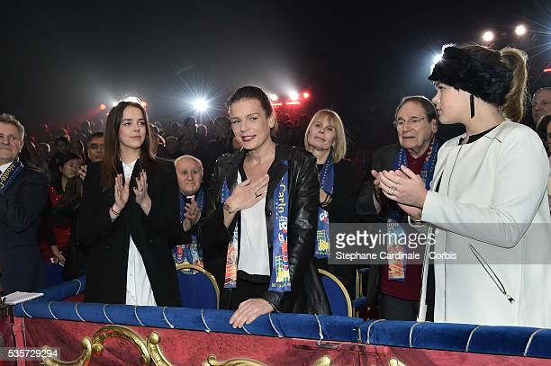 Pauline Ducruet Princess Stephanie of Monaco and and Camille Gottlieb attend the 39th International Circus Festival of MonteCarlo on January 18 2015...