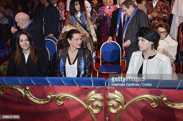 Pauline Ducruet Princess Stephanie of Monaco and Camille Gottlieb attend the 39th International Circus Festival of MonteCarlo on January 18 2015 in...