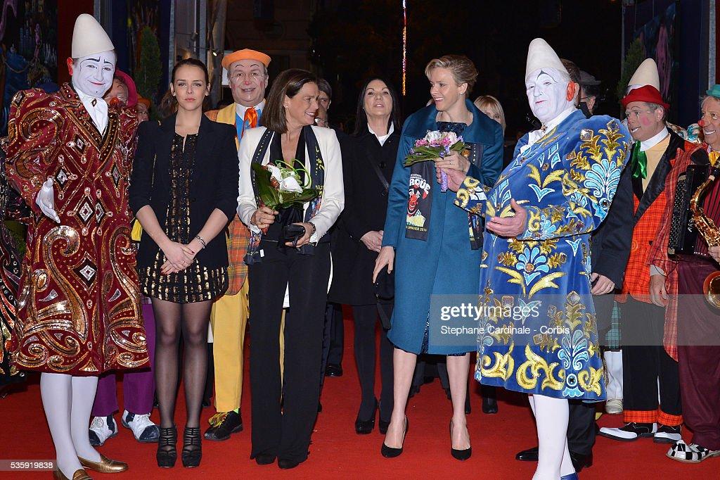 Pauline Ducruet, Princess Stephanie of Monaco and Princess Charlene of Monaco attend the 38th International Circus Festival on January 21, 2014 in Monte-Carlo, Monaco.