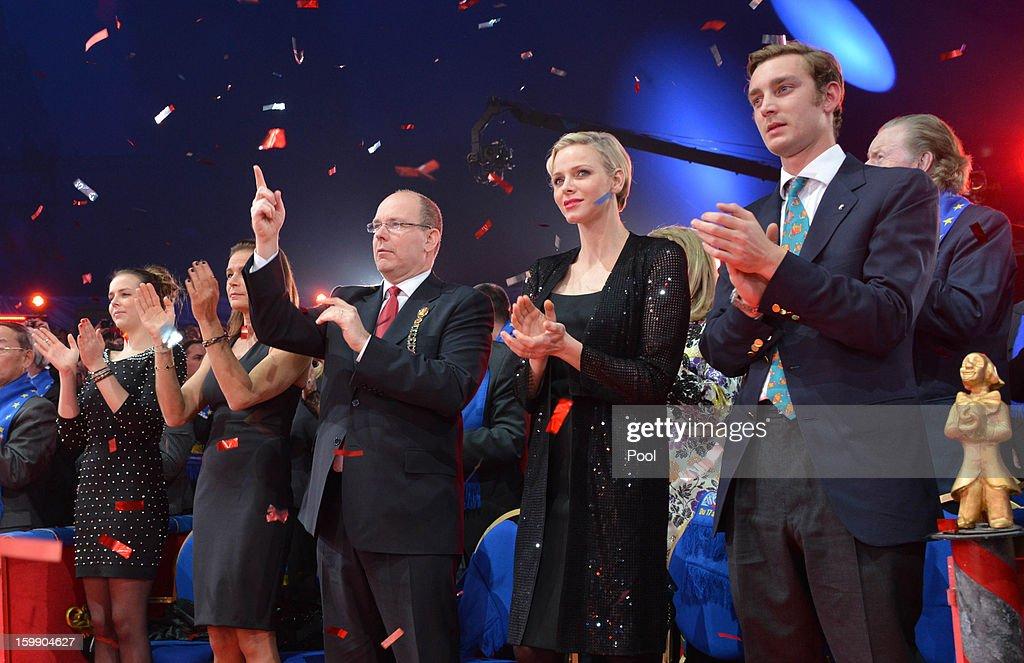 Pauline Ducruet, Princess Stephanie of Monaco, Prince Albert II of Monaco, Princess Charlene of Monaco and Pierre Casiraghi attend the Monte-Carlo 37th International Circus Festival Closing Ceremony on January 22, 2013 in Monte-Carlo, Monaco.