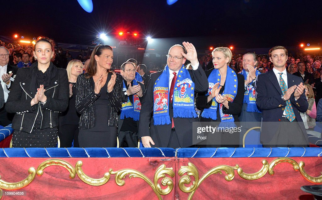 Pauline Ducruet, Princess Stephanie of Monaco, Prince Albert II of Monaco, Princess Charlene of Monaco and Pierre Casiraghi attend the Monte-Carlo 37th International Circus Festival Closing Ceremony on January 22, 2013 in Monte-Carlo, Monaco.