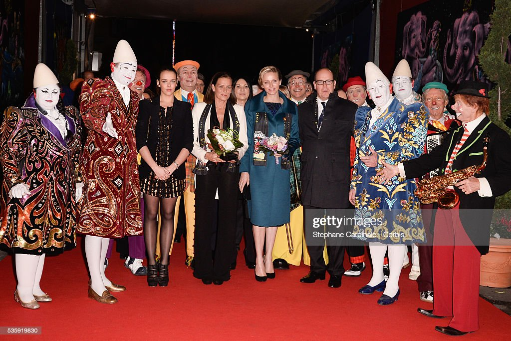 Pauline Ducruet, Princess Stephanie of Monaco, Princess Charlene of Monaco and Prince Albert II of Monaco attend the 38th International Circus Festival on January 21, 2014 in Monte-Carlo, Monaco.