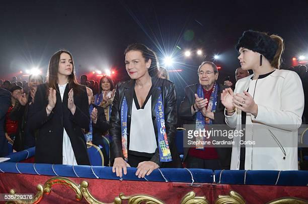 Pauline Ducruet Princess Stephanie of Monaco Robert Hossein and Camille Gottlieb attend the 39th International Circus Festival of MonteCarlo on...