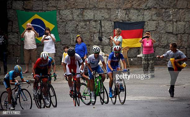 Pauline Ferrand Prevot of France leads the break away in the women's cycling road race on Day 2 of the Olympics August 7 2016 in Rio de Janeiro Brazil