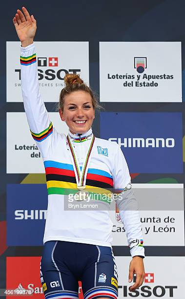 Pauline FerrandPrevot of France poses with her gold medal after winning the Women's Elite Road Race on day six of the UCI Road World Championships on...