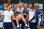 Pauline FerrandPrevot of France poses with her team mates after winning the Women's Elite Road Race on day six of the UCI Road World Championships on...