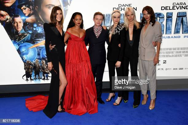 Pauline Hoarau Rihanna Dane DeHaan Cara Delevingne Sasha Luss and Aymeline Valade attend the European premiere of 'Valerian and The City of a...