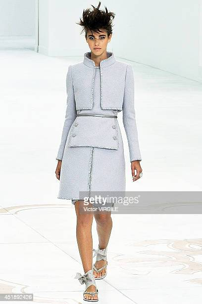 Pauline Hoarau walks the runway during the Chanel show as part of Paris Fashion Week Haute Couture Fall/Winter 20142015 at Grand Palais on July 8...
