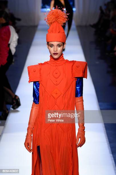 Pauline Hoarau walks the runway during the Jean Paul Gaultier Haute Couture Fall/Winter 20172018 show as part of Haute Couture Paris Fashion Week on...