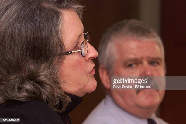 Pauline Holcroft whose daughter Rachel died from a heroin overdose talks with her husband Mick at a press conference at Ledbury Herefordshire...