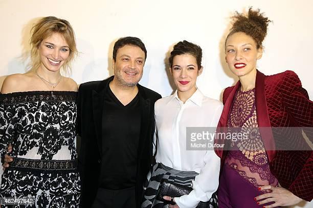 Pauline Lefevre Zuhair Murad Melanie Doutey and Chrystle Saint Louis Augustin pose backstage after the Zuhair Murad show as part of Paris Fashion...