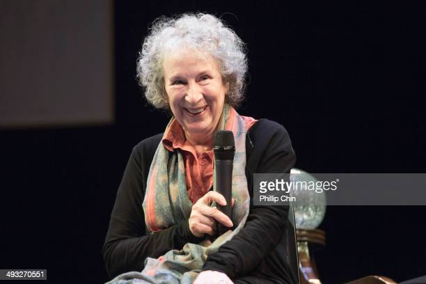 'Pauline' librettist Margaret Atwood speaks at the CIty Opera Vancouver's 'Pauline' media call at the York Theatre on May 22 2014 in Vancouver Canada