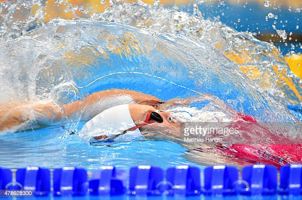 Pauline Mahieu of France competes in the Mixed 100m Medley Relay during day fourteen of the Baku 2015 European Games at Baku Aquatics Centre on June...