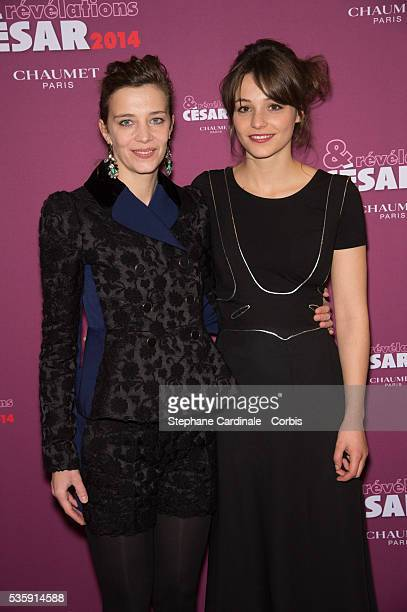 Pauline Parigot and Celine Salette attend the Chaumet's Cocktail Party for Cesar's Revelations 2014 at Salons Chaumet followed by a dinner at Hotel...