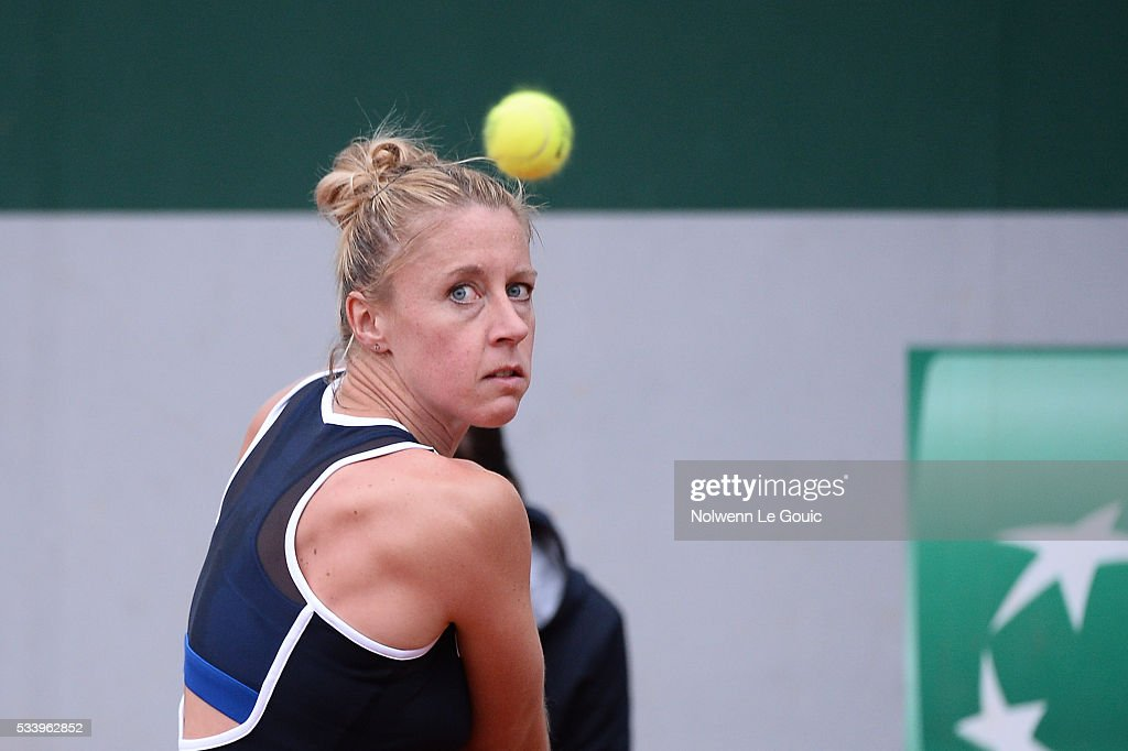 Pauline Parmentier during the Women's Singles first round on day three of the French Open 2016 at Roland Garros on May 24, 2016 in Paris, France.