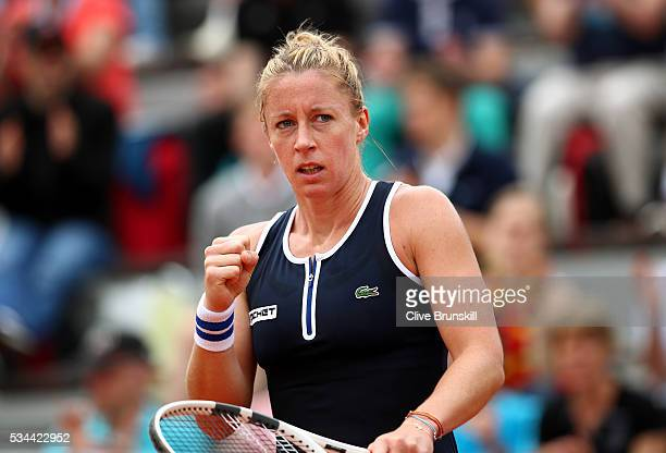 Pauline Parmentier of France celebrates during the Ladies Singles second round match against Irina Falconi of the United States on day five of the...