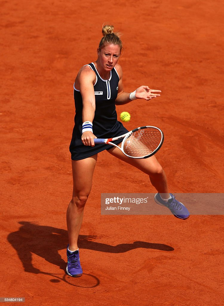 <a gi-track='captionPersonalityLinkClicked' href=/galleries/search?phrase=Pauline+Parmentier&family=editorial&specificpeople=607686 ng-click='$event.stopPropagation()'>Pauline Parmentier</a> of France hits a backhand during the Ladies Singles third round match against Timea Bacsinszky of Switzerland on day seven of the 2016 French Open at Roland Garros on May 28, 2016 in Paris, France.