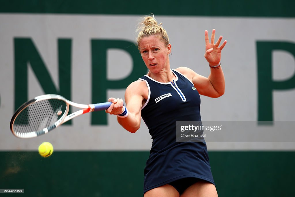 <a gi-track='captionPersonalityLinkClicked' href=/galleries/search?phrase=Pauline+Parmentier&family=editorial&specificpeople=607686 ng-click='$event.stopPropagation()'>Pauline Parmentier</a> of France hits a forehand during the Ladies Singles second round match against Irina Falconi of the United States on day five of the 2016 French Open at Roland Garros on May 26, 2016 in Paris, France.