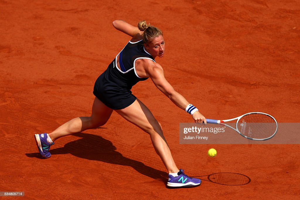 <a gi-track='captionPersonalityLinkClicked' href=/galleries/search?phrase=Pauline+Parmentier&family=editorial&specificpeople=607686 ng-click='$event.stopPropagation()'>Pauline Parmentier</a> of France hits a forehand during the Ladies Singles third round match against Timea Bacsinszky of Switzerland on day seven of the 2016 French Open at Roland Garros on May 28, 2016 in Paris, France.