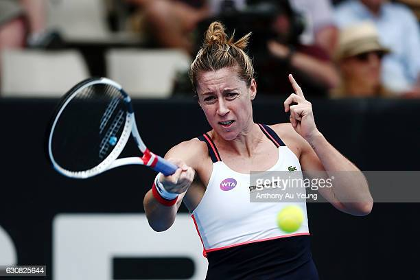 Pauline Parmentier of France plays a forehand in her match against Serena Williams of USA on day two of the ASB Classic on January 3 2017 in Auckland...