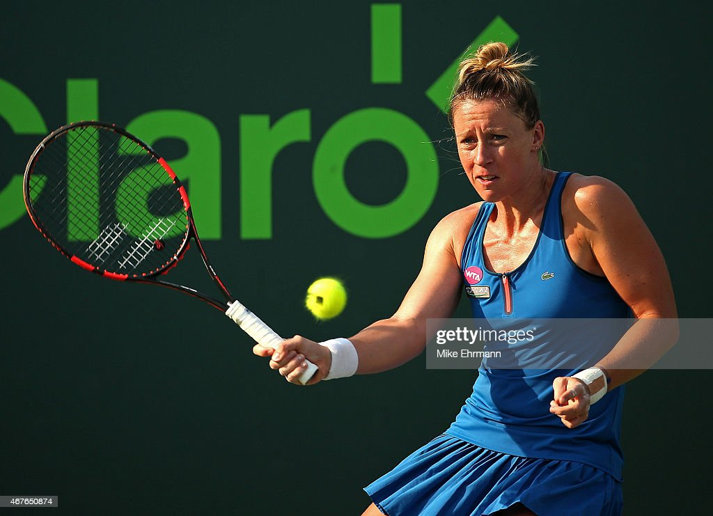 <a gi-track='captionPersonalityLinkClicked' href=/galleries/search?phrase=Pauline+Parmentier&family=editorial&specificpeople=607686 ng-click='$event.stopPropagation()'>Pauline Parmentier</a> of France plays a match against Samantha Stosur of Australia during Day 4 of the Miami Open presented by Itau at Crandon Park Tennis Center on March 26, 2015 in Key Biscayne, Florida.