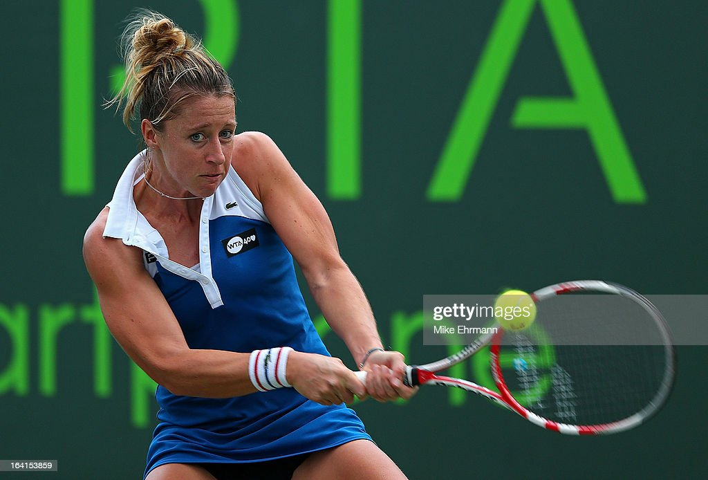 Pauline Parmentier of France plays a match against Silvia Soler-Espinosa of Spain during Day 3 of the Sony Open at Crandon Park Tennis Center on March 20, 2013 in Key Biscayne, Florida.