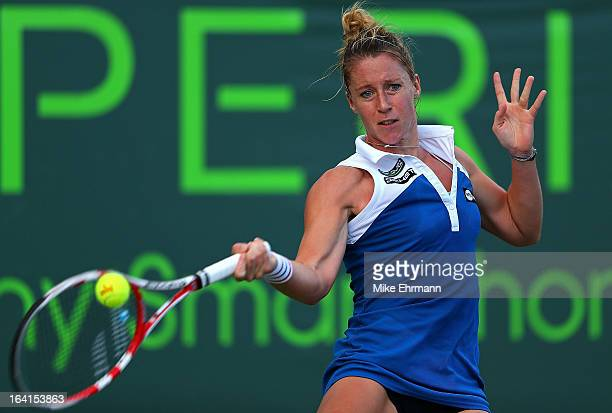 Pauline Parmentier of France plays a match against Silvia SolerEspinosa of Spain during Day 3 of the Sony Open at Crandon Park Tennis Center on March...
