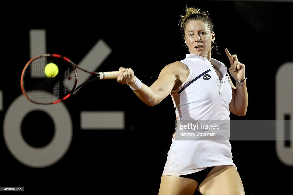 <a gi-track='captionPersonalityLinkClicked' href=/galleries/search?phrase=Pauline+Parmentier&family=editorial&specificpeople=607686 ng-click='$event.stopPropagation()'>Pauline Parmentier</a> of France returns a shot to Gabriela Ce of Brazil during the Rio Open at the Jockey Club Brasileiro on February 16, 2015 in Rio de Janeiro, Brazil.