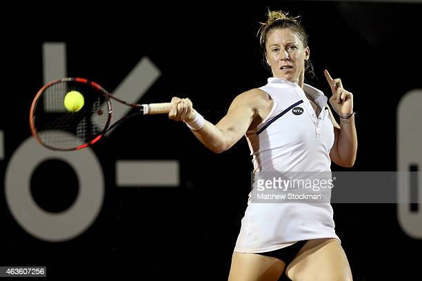 Pauline Parmentier of France returns a shot to Gabriela Ce of Brazil during the Rio Open at the Jockey Club Brasileiro on February 16 2015 in Rio de...