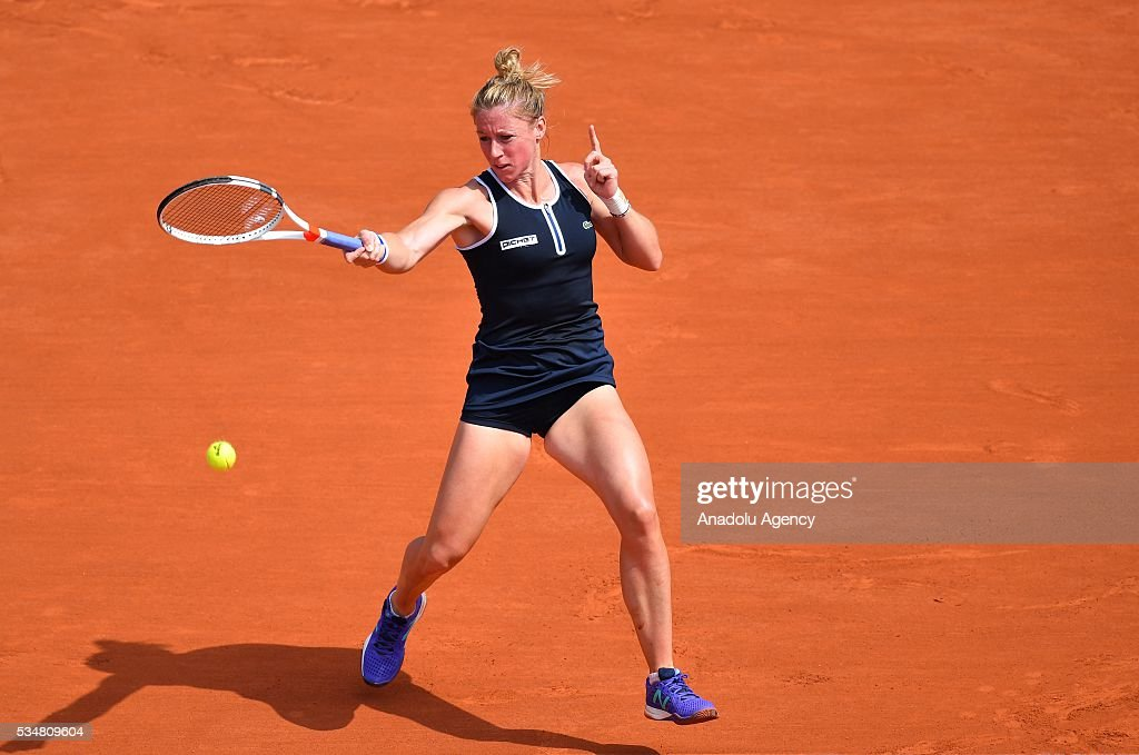 Pauline Parmentier of France returns to Timea Bacsinszky (not seen) of Switzerland during the women's single third round match at the French Open tennis tournament at Roland Garros Stadium in Paris, France on May 28, 2016.